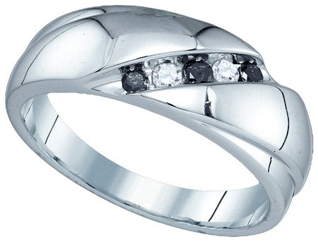 Men's Diamond Ring 10K White Gold 0.22 cts. GD-81410