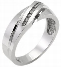 Men's Diamond Ring 14K White Gold 0.30 cts. MSD-161