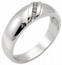 Men's Diamond Ring 14K White Gold 0.15 cts. MSD-185