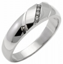 Men's Diamond Ring 14K White Gold 0.13 cts. MSD-204
