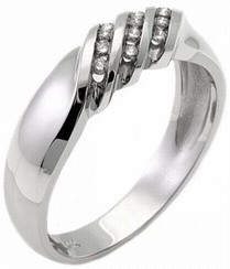 Men's Diamond Ring 14K White Gold 0.25 cts. MSD-210