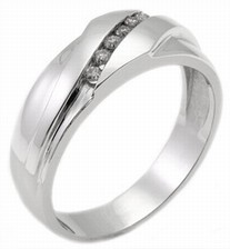 Men's Diamond Ring 14K White Gold 0.14 cts. MSD-211