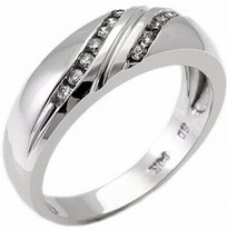 Men's Diamond Ring 14K White Gold 0.30 cts. MSD-214