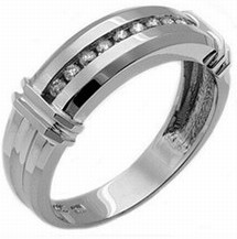 Men's Diamond Ring 14K White Gold 0.30 cts. MSD-215