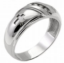 Men's Diamond Ring 14K White Gold 0.10 cts. MSD-218