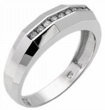 Men's Diamond Ring 14K White Gold 0.25 cts. MSD-219