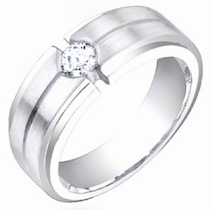 Men's Diamond Ring 14K White Gold 0.35 cts. S64-13