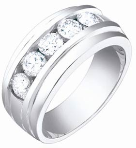 Men's Diamond Ring 14K White Gold 1.60 cts. S64-9