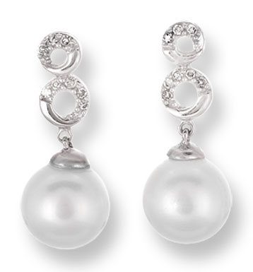 Pearl Diamond Earrings 14K White Gold 0.07 cts. CL-25998