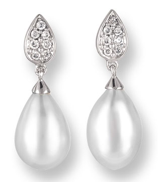Pearl Diamond Earrings 14K White Gold 0.13 cts. CL-26005