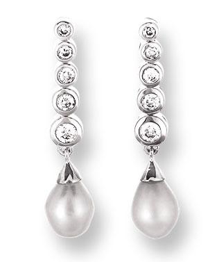 Pearl Diamond Earrings 14K White Gold 0.25 cts. CL-26008
