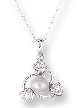Pearl Diamond Pendant 14K White Gold 0.03 cts. CL-26014