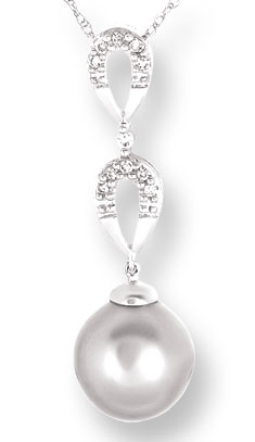 Pearl Diamond Pendant 10K White Gold 0.06 cts. CL-26020