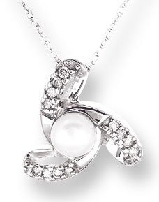 Pearl Diamond Pendant 10K White Gold 0.08 cts. CL-26024
