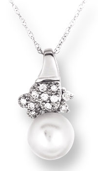 Pearl Diamond Pendant 10K White Gold 0.08 cts. CL-26025