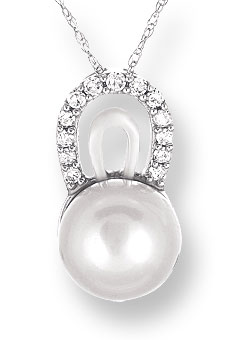 Pearl Diamond Pendant 14K White Gold 0.12 cts. CL-26027