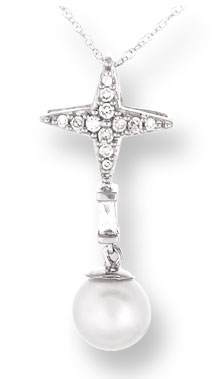 Pearl Diamond Pendant 14K White Gold 0.12 cts. CL-26028
