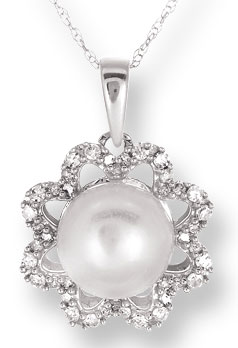 Pearl Diamond Pendant 14K White Gold 0.27 cts. CL-26030