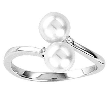 Pearl Diamond Ring 14K White Gold 0.02 cts. CL-26281
