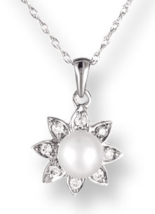 Pearl Diamond Pendant 14K White Gold 0.08 cts. CL-26298
