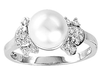 Pearl Diamond Ring 14K White Gold 0.15 cts. CL-26474