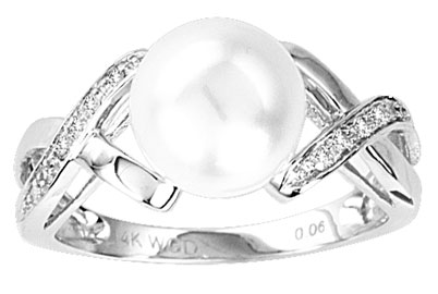 Pearl Diamond Ring 14K White Gold 0.06 cts. CL-26966