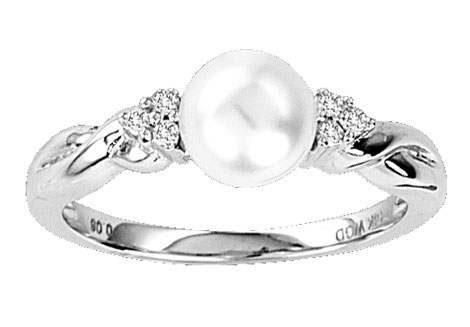 Pearl Diamond Ring 14K White Gold 0.05 cts. CL-27074