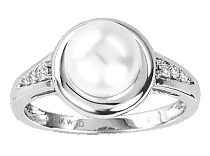 Pearl Diamond Ring 14K White Gold 0.20 cts. CL-27355