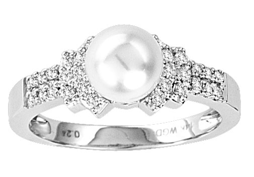 Pearl Diamond Ring 14K White Gold 0.23 cts. CL-28278 [CL-28278 ...