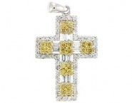 Diamond Cross Pendant 18K White Gold 0.7cts. DP14112-B