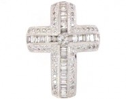 Diamond Cross Pendant 18K White Gold 1.02cts. DP14162-B