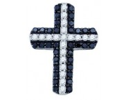 Diamond Cross Black Pendant 10K White Gold 0.80 cts. GD-72278