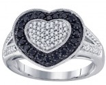 Ladies Diamond Heart Ring 10K White Gold 0.51 cts. GD-76075