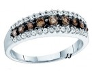 Ladies Champagne Diamond Band 10K White Gold 0.50 cts. GD-58473