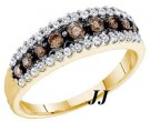 Ladies Champagne Diamond Band 10K Yellow Gold 0.50 cts. GD-58904