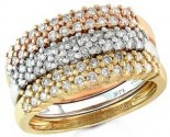 Ladies Diamond Bands 14K Tri Color Gold 1.00 cts. S12-5