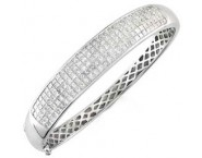 Ladies Diamond Bangle 14K White Gold 6.50 cts. S1-1