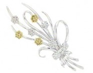 Diamond Brooch 18K White Gold 0.55 cts. DBH13727-B