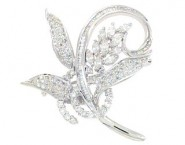 Diamond Brooch 18K White Gold 1.63 cts. DBH13989-B
