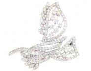 Diamond Brooch 18K White Gold 3.12 cts. DBH14488-B