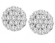 Diamond Cluster Earrings 10K White Gold 1.00 ct. GS-22092