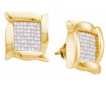 14K Yellow Gold Invisible Diamond Earrings 1.00 ct. GD-20467