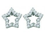 14K White Gold Diamond Star Earrings 0.35 cts. GD-26108