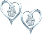 Ladies Diamond Heart Earrings 10K White Gold 0.15 cts. GD-36015