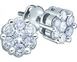 10K White Gold Diamond Cluster Earrings GD-45820