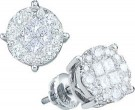 14K White Gold Diamond Cluster Earrings GD-47647