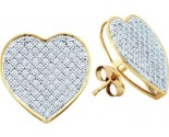 Ladies Diamond Heart Earrings 10K Gold GD-50200