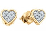Ladies Diamond Heart Earrings 10K Gold 0.05 cts. GD-50472