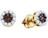 14K Yellow Gold Diamond Cluster Earrings GD-51978