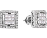 14K White Gold Diamond Invisible Earrings 1.00 cts. GD-53458